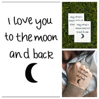 Moon Love - temporary tattoo (Set of 2)