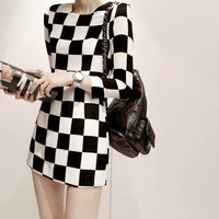 Spring Long Sleeves Black and White Bold Checks and Plaids Shift Dress