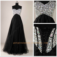 Gorgeous Black A-Line Floor-Length Prom Dresses/Graduation Dresses