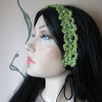 HEADBAND SPRING SHAMROCK Green Crochet Organic Cotton by samsstuff