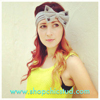 Studded Bow Headband Head Wrap Turban - Silver, Black or Gold Studs