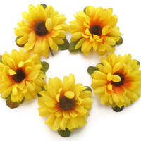 Lot Sunflower Hair Clip Bobby Pin Silk Flower