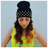 Studded Black Beanie Hat Circular Studs CHOOSE - Silver or Gold Studs -