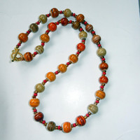 Amber Mix Swirl with Red Beaded Necklace