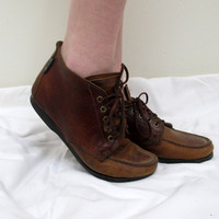 Vintage Brown Lace Up Roper Boots Ankle High Leather Womens SIze 8