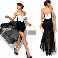 Women&#x27;s Elegant Strapless back zipper Asymmetric Cocktail Party Sexy Dress Y509