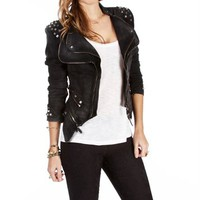 Black Denim Studded Zipper Jacket