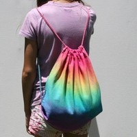 Rainbow Draw String Backpack