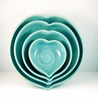 Romantic Blue Ceramic Nesting Heart Bowls