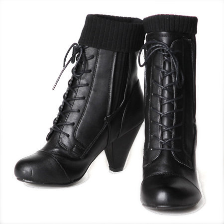 at your service lace up booties in raven