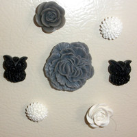 Black Gray White Owl &amp; Flower Magnet Set of 7 Magnets locker home decor Refridgerator Cabochon rose dorm