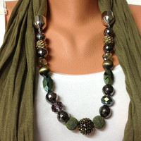 green jewelry scarf - green wrinkle scarf with crystal and acyrlic beads, high fashion unique jewelry scarf, gift or for you