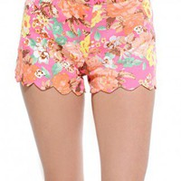 Scallop Hem Denim Shorts
