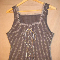 OOAK Upcycled Recycled Silver Grey Eco Fashion Vest by recouture1