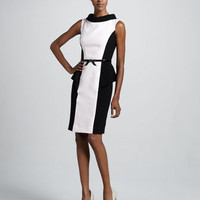Colorblock Peplum Cocktail Dress