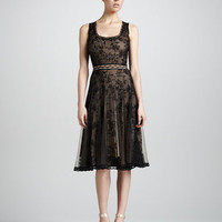 Scoop-Neck Lace Cocktail Dress, Black