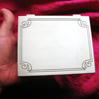 Amaizing Vintage Table CIGARETTE BOX  Carved Art Deco Style Stainless Steel
