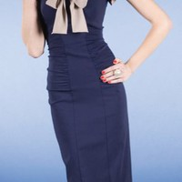 Business 1950&#x27;s dress in Navy Blue, Fitted - Stop Staring! Clothing