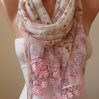 Mother's Day Gift - Pink and Beige - Silk/Chiffon Scarf with Pink Trim Edge
