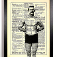 Muscle Man and His Mustache Repurposed Book Upcycled Dictionary Art Vintage Book Print Recycled Vintage Dictionary Page Buy 2 Get 1 FREE