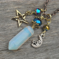 Moonstone Necklace, Pentagram, Pentacle, Moon, Star, Crystal Point Necklace, Pendulum, Opal, Opalite, Gemstone Pendant, Charm Necklace,