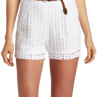 C. Luce Women's Cut Out Eyelet Belted Short