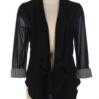 Sheer Black Stripe Cuff Blazer