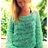 Boxy Loose Weave Sweater in Turquoise by munamiu on Etsy