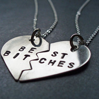 Best Bitches Split Heart Necklaces - Best Friends Forever, BFF Jewelry, Best Bitches Jewelry