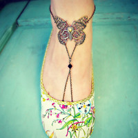 unique butterfly anklet foot piece leg piece by alapopjewelry