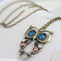 Jeweled Little Owl Necklace