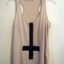 inverted cross beige tank  small RESERVED by wildblacksheep
