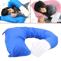 Hand Shaped Portable Office Afternoon Nap Soft Pillow Multi Function Body Boyfriend Hug Arm Cushion Color (Blue)