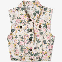 Floral Denim Vest