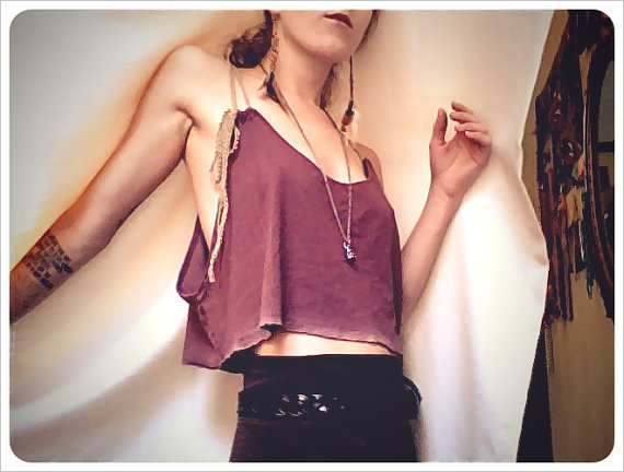 mama gaia bamboo hemp crop top color bordeaux by RunWithTheTribe
