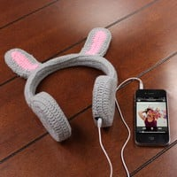 BunnyPHONES Crocheted Rabbit Ear Stereo Headphones