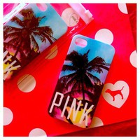 Victoria&#x27;s Secret PINK Tropical Palm Tree iPhone 4 4S Cell Phone Hard Case Cover