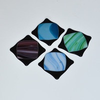 Handmade Fused Glass Drink Coasters Set by eyeseesage on Etsy