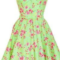 Green Floral vintage Style Party Prom Dress