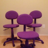 1 x CUTE PURPLE FABRIC HOME OFFICE ARMLESS DESK DORM SWIVEL TASK CHAIR