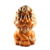 Lion Piggy Bank Kitsch Retro Decor Super Cute Curly Hair / Vintage 60s 70s