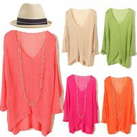 Summer V-neck Perspective Knit Bat Sweater (More Color)