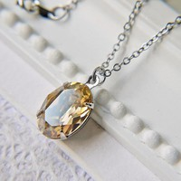 Swarovski Crystal Golden Shadow Necklace. Silver. Modern Simple Elegant