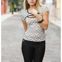 SHEER LACE PEEK-A-BOO TEE