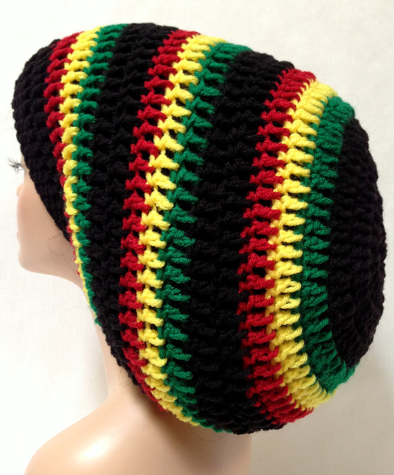 Knitted Scarf Pattern For Beginners : Unisex Crochet Mega Rasta Tam. Jamaican from AfricanCrab Knits