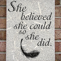 Quote Wall Art: &quot;She Believed She Could So She Did&quot; Canvas Art / Prints on Canvas