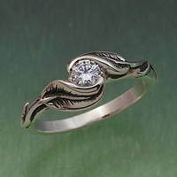 DELICATE LEAF RING, Your Choice of Stone.  Ring in sterling silver