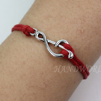 Silver notes bracelet red rope bangle bracelet lovely trend bracelet gift 2013-N1082