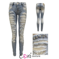 LADIES RIPPED TEAR SILVER PEARL STUDDED DENIM LIGHT WASHED TROUSER JEANS 6-14
