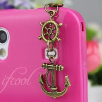 3.5mm Antique Bronze Anchor And Rudder Dust-proof Plug For iphone 4s,iPhone 4,iPhone 3gs,iPod Touch 4,HTC,Nokai,Samsung,Sony